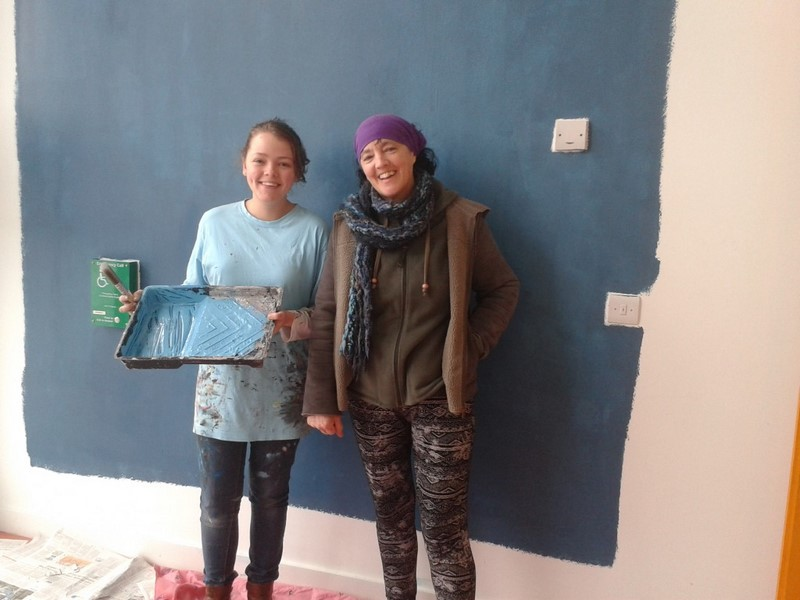 Roisín Mulliez & Dee O'Brien (Art Teacher) as work begins!