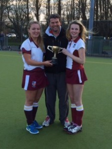 Co- captains Evvie Lowdnes and Sorcha o Connor accepting the WARD CUP