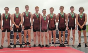 The J16 boys eight on the podium (l to r): Philip Buckley, Mark Ryder, Shane O'Halloran, Daragh Coughlan, David Young (cox), Thomas Power, Brian Maye, Robert McInerney, Luke Mulliez
