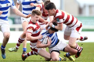 James Hill, Jake Gallagher and Conal Fallon tackle Frank Hopkins 16/3/2016