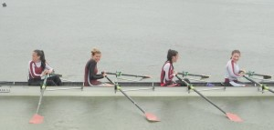 The girls J18 4X- just after winning their race at the Galway Regatta: (l to r) Molly Curtis, Eimear Sheridan, Sarah Curtis, Rachel Trench