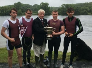The winning boys J18 4X- collecting their trophy at the Galway Regatta: (l to r) Philip Buckley, Seamus O'Donoghue, Adam Burke, Luke Mulliez
